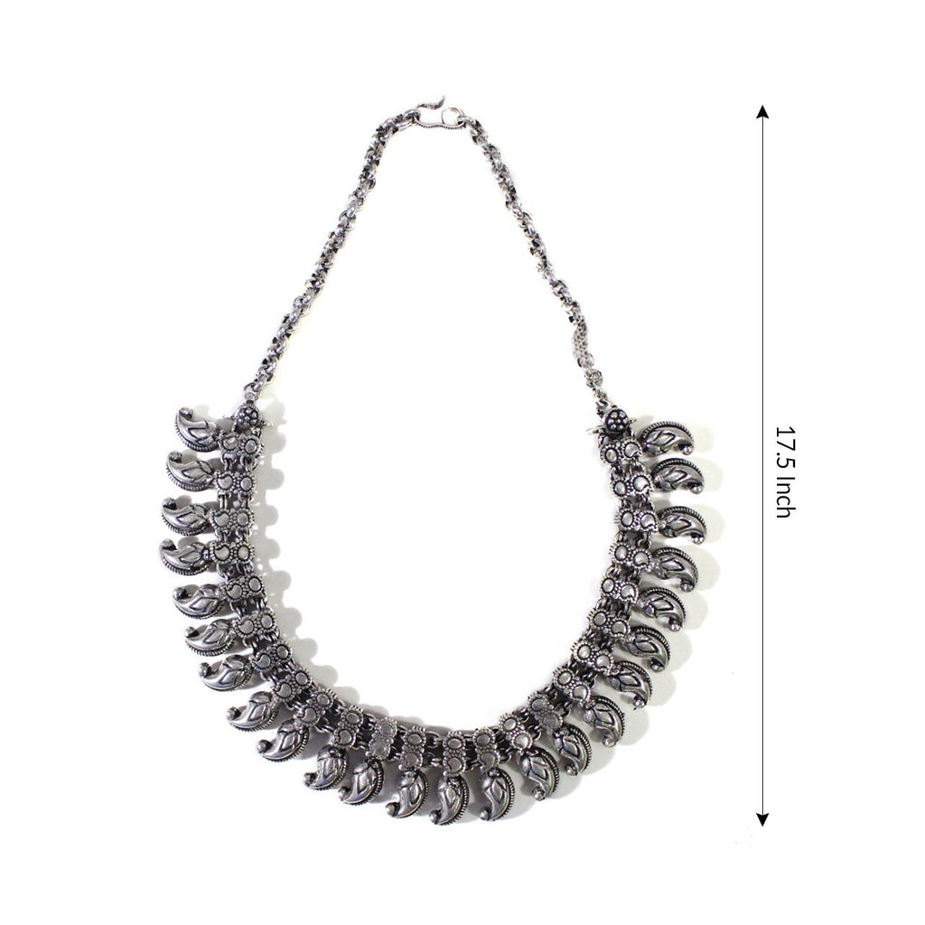 Oxidised German Silver Kolhapur Choker Necklace