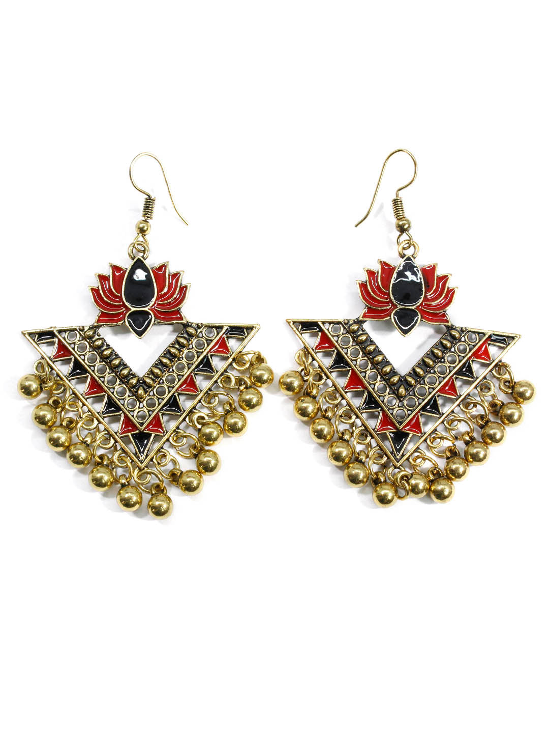 Aana Red And Black Color Lotus Design Gold Plated Dangler Earring