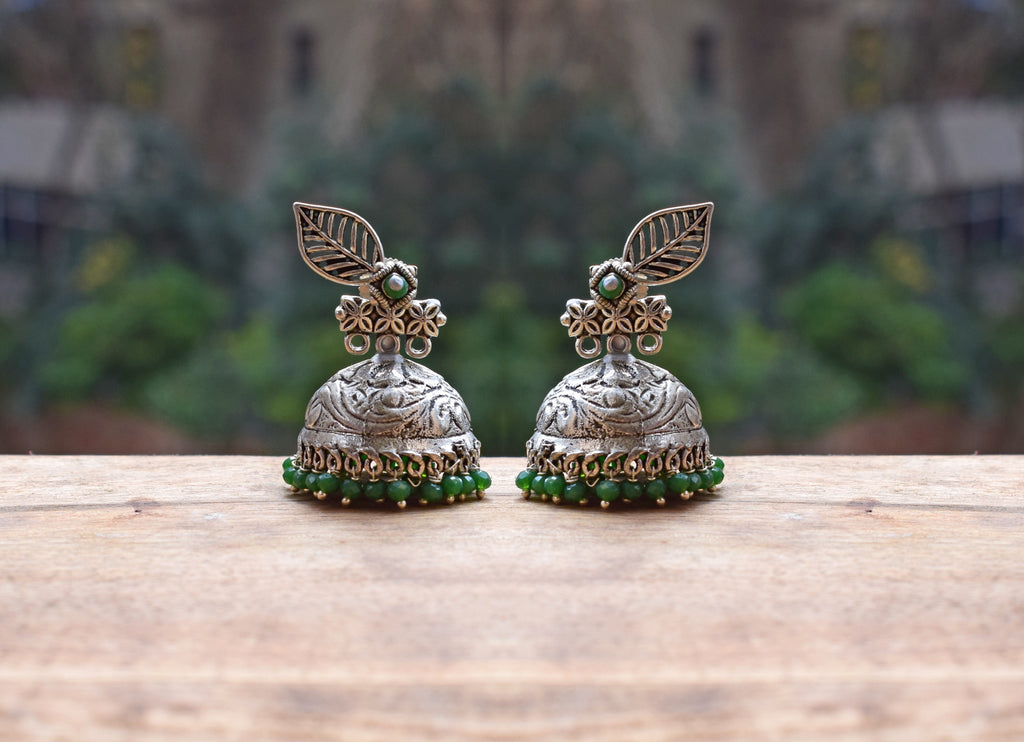 Green Beads Leaf Design Dramatic Jhumka Earring-ANETRA1-Earring