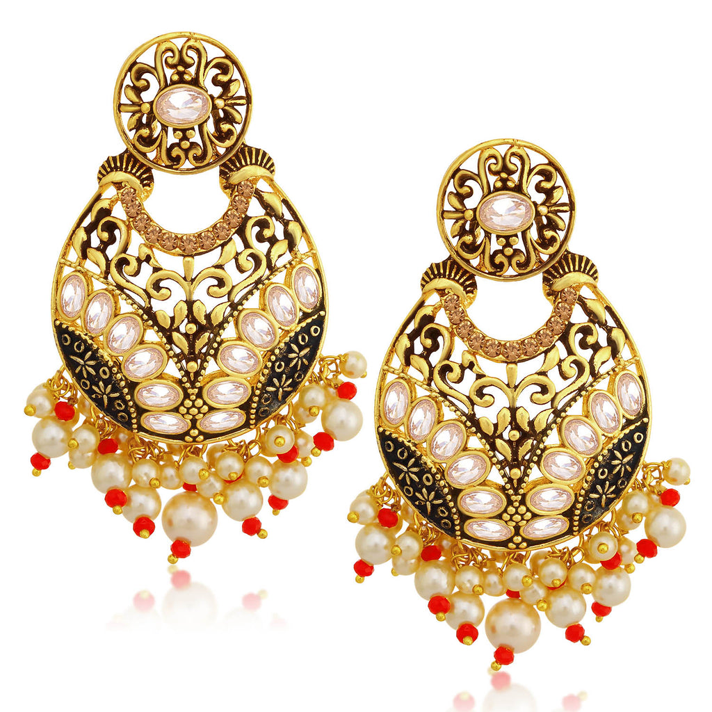 Sukkhi Sparkling LCT Stone Gold Plated Pearl Chandelier Earring For Women-SUKKHI1-Earring