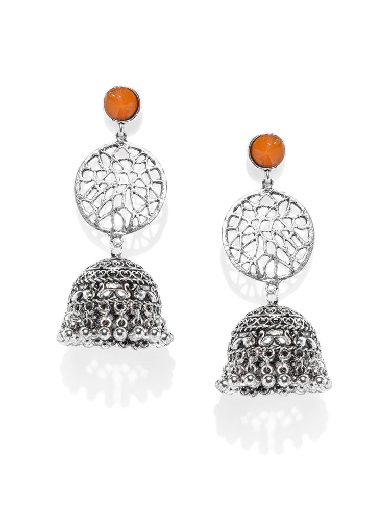 Zaveri Pearls Antique Silver Tone Jhumki Earring