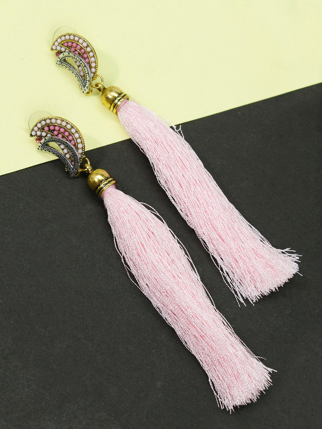 Aana Light Pink Color Tassel Stud Earring