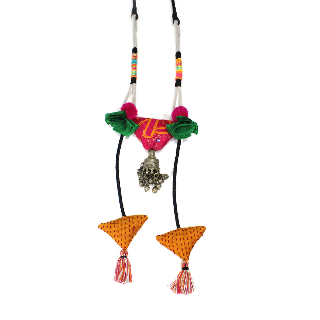 Hand Crafted Tassel In Afghani Metal Long Necklace