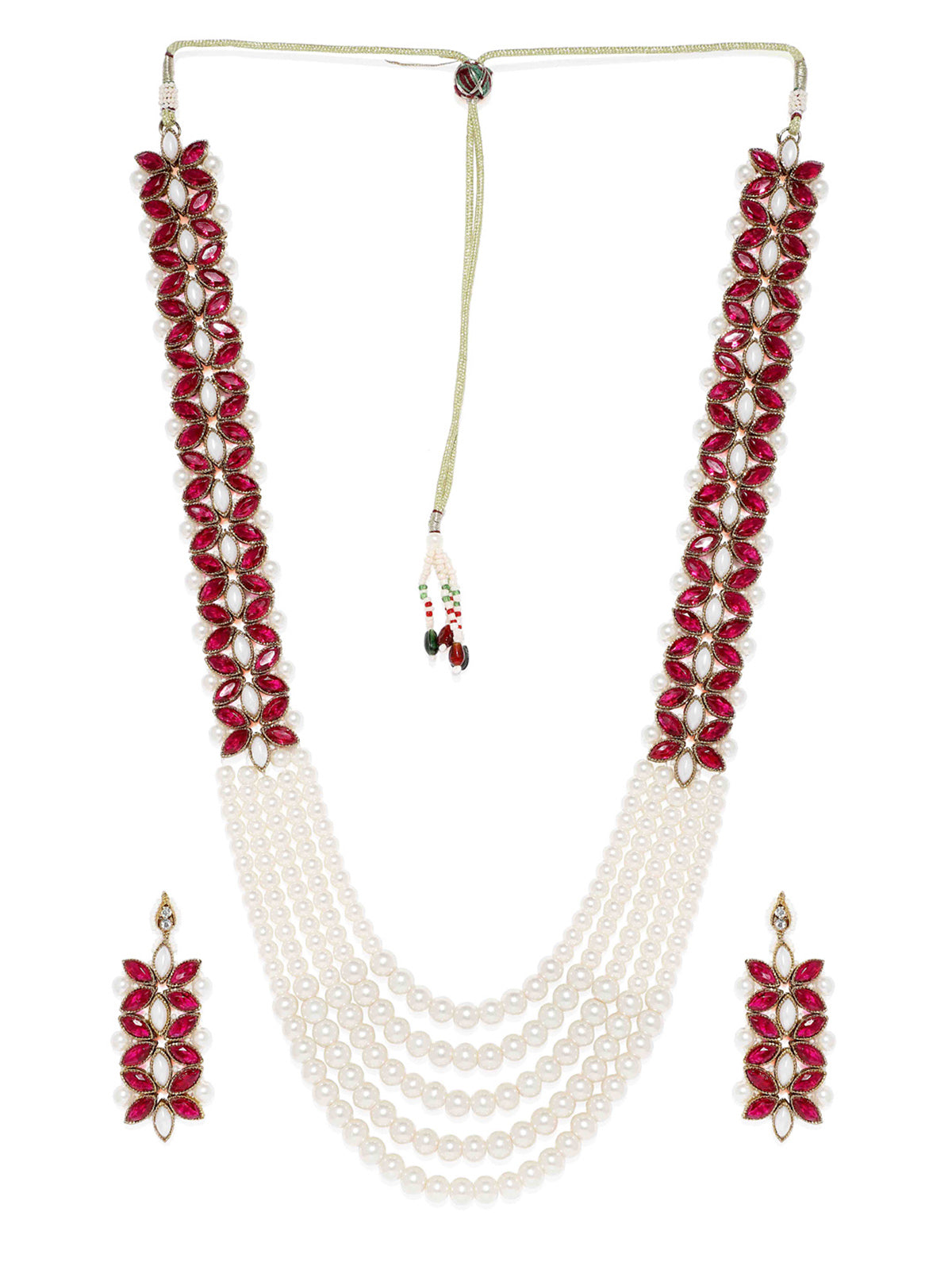 Zaveri Pearls Long Multi Layer Kundan And Pearl Necklace Set-ZAVERI PEARLS1-Necklace Set