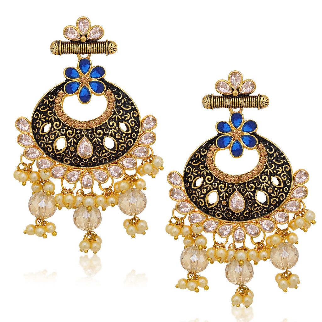 Sukkhi Sparkling LCT Stone Gold Plated Pearl Chandbali Earring For Women-SUKKHI1-Earring