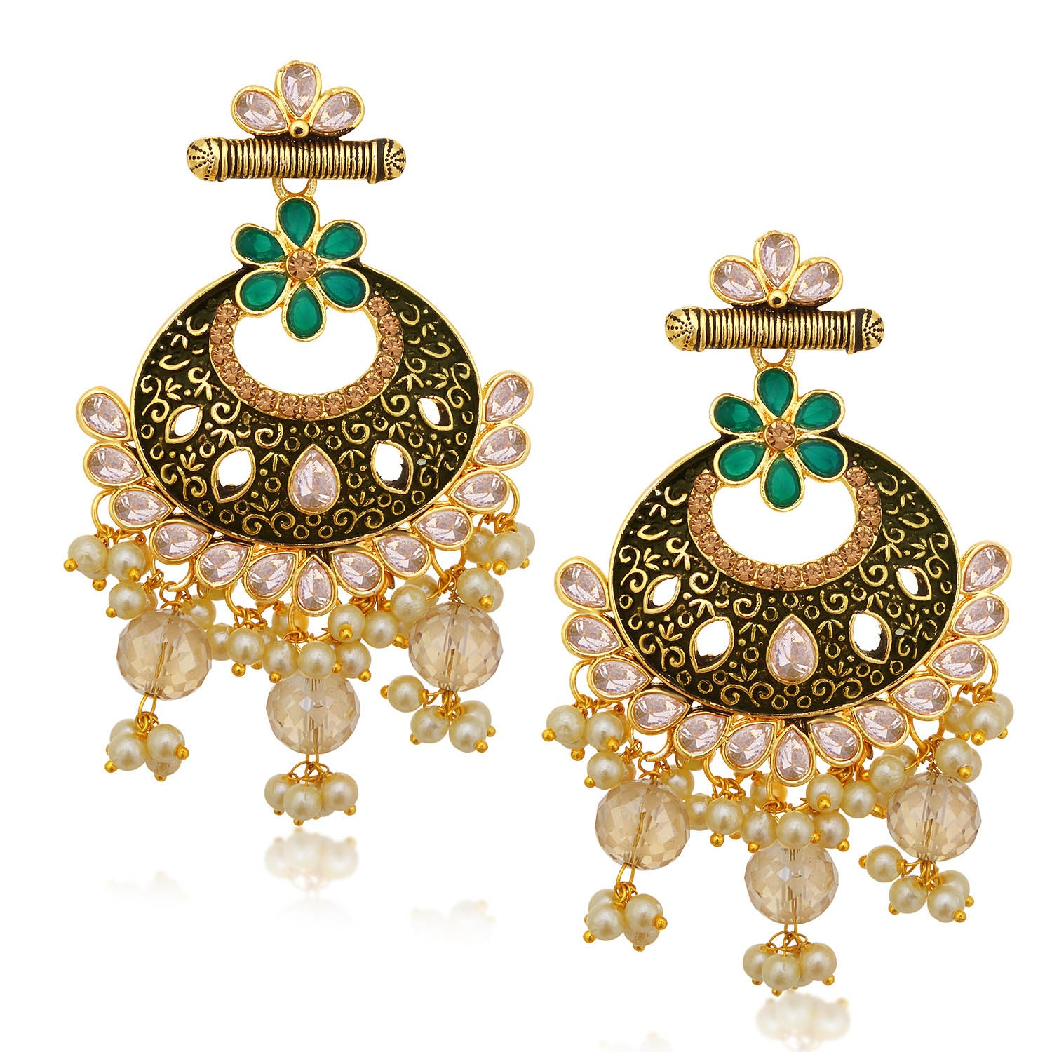 Sukkhi Exquisite LCT Stone Gold Plated Pearl Chandbali Earring For Women-SUKKHI1-Earring