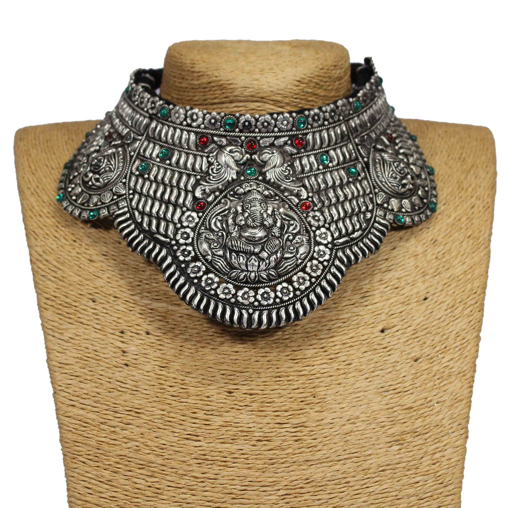 Oxidized German Silver Ganapathi Design Statement Choker Necklace Set