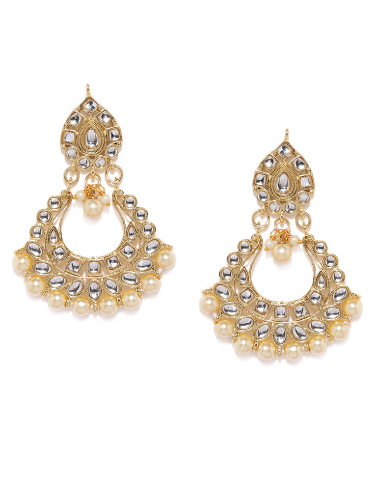 Zaveri Pearls Gold Tone Kundan And Pearls Dangle Earring-ZAVERI PEARLS1-Earring