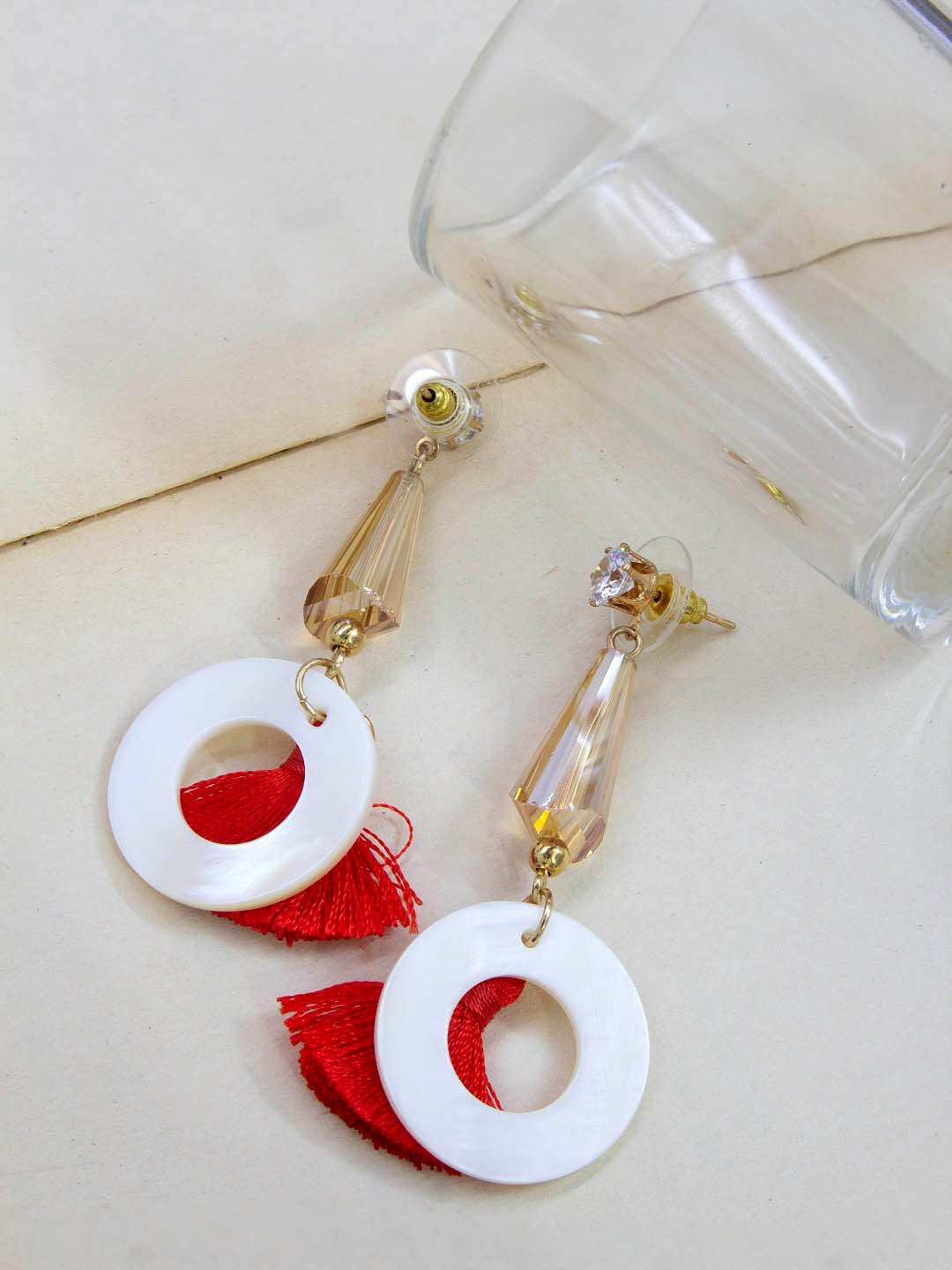 Aana Gold Plating Circle Design Red And White Color Artificial Stone Fabric Tassel Earring-AANA-Earring