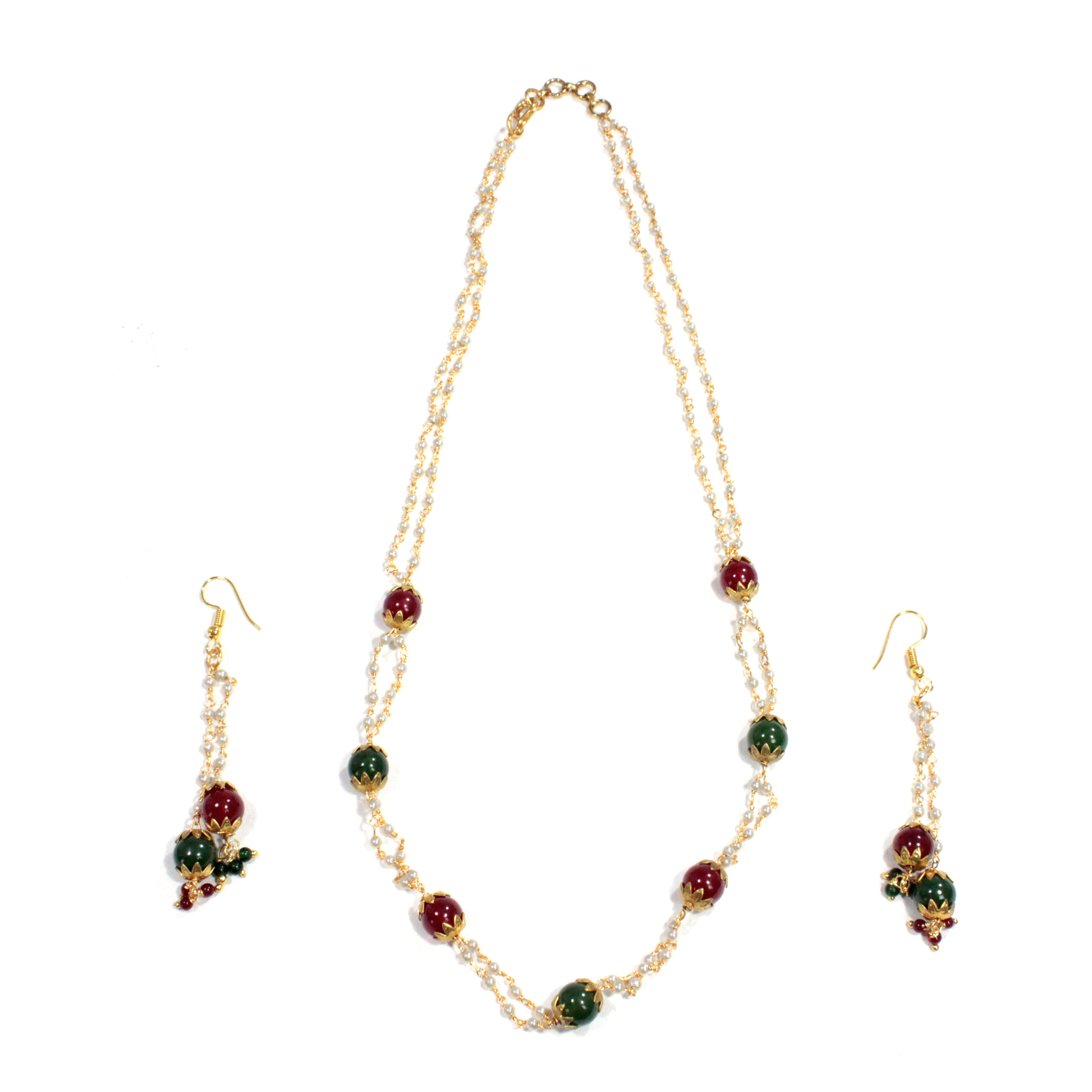 2 Layered Pearl With Artificial Beads Necklace Set