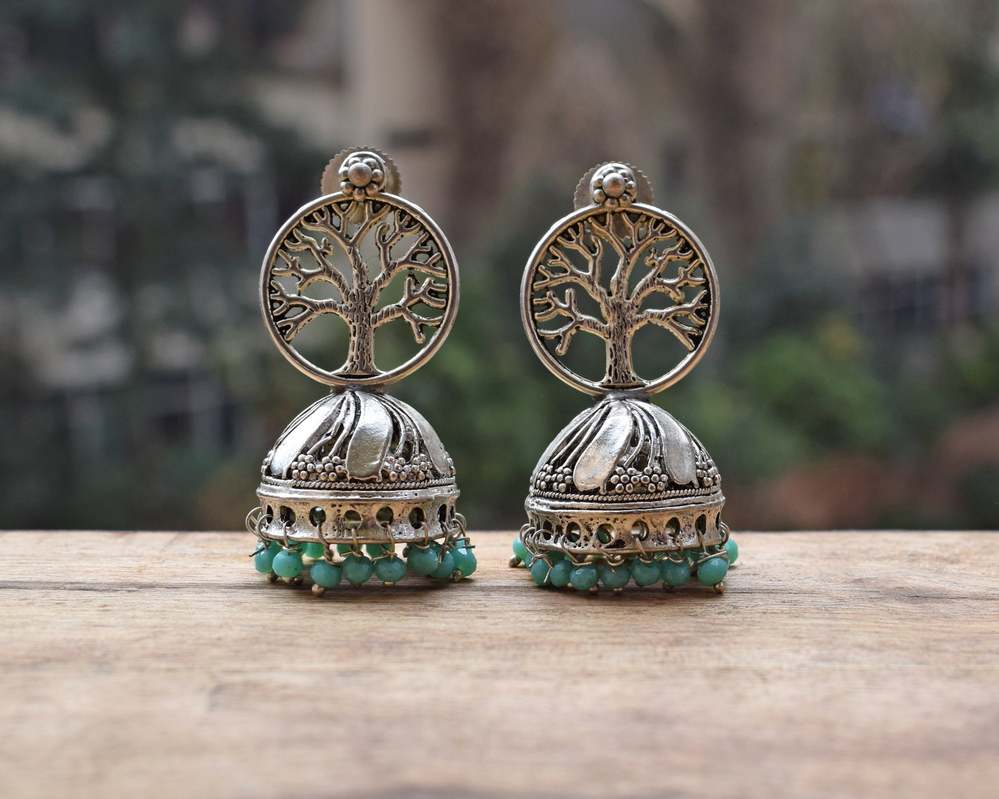 Tree of Life Turquoise Blue Beads Jhumka Earring-ANETRA1-Earring