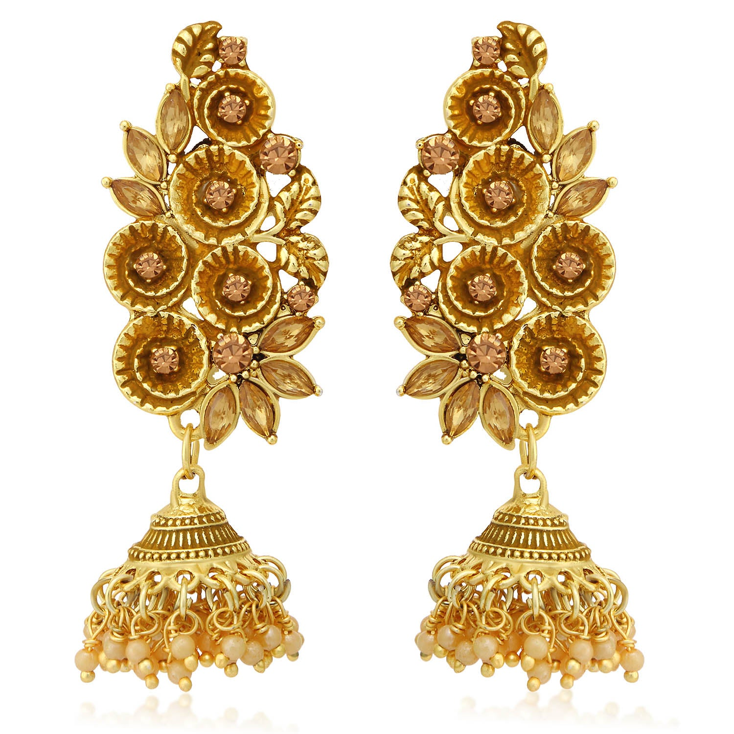 Sukkhi Glitzy LCT Stone Gold Plated Floral Jhumki Earring For Women-SUKKHI1-Earring