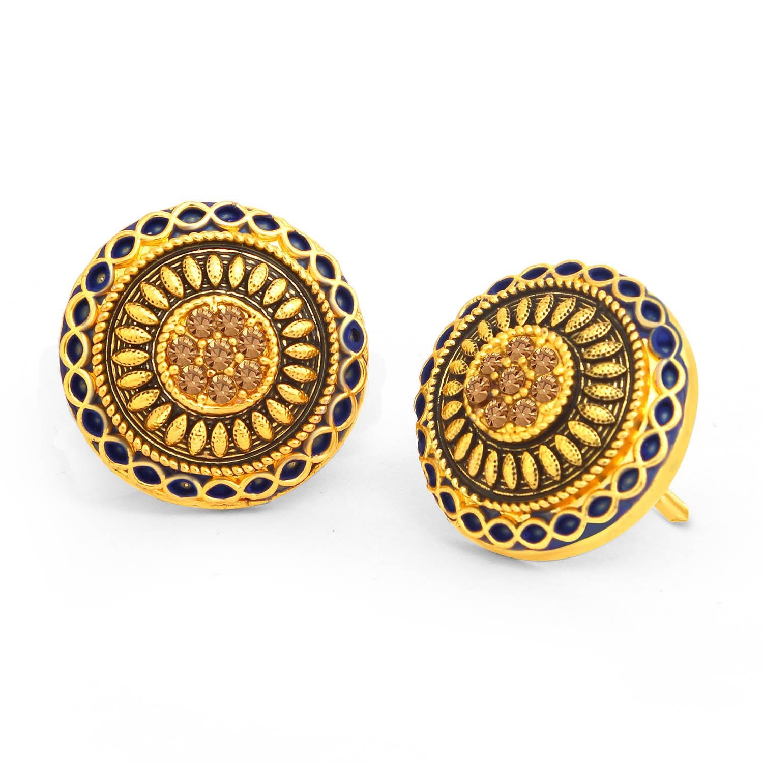 Sukkhi Classic LCT Stone Gold Plated Blue Mint Meena Collection Stud Earring For Women-SUKKHI1-Earring