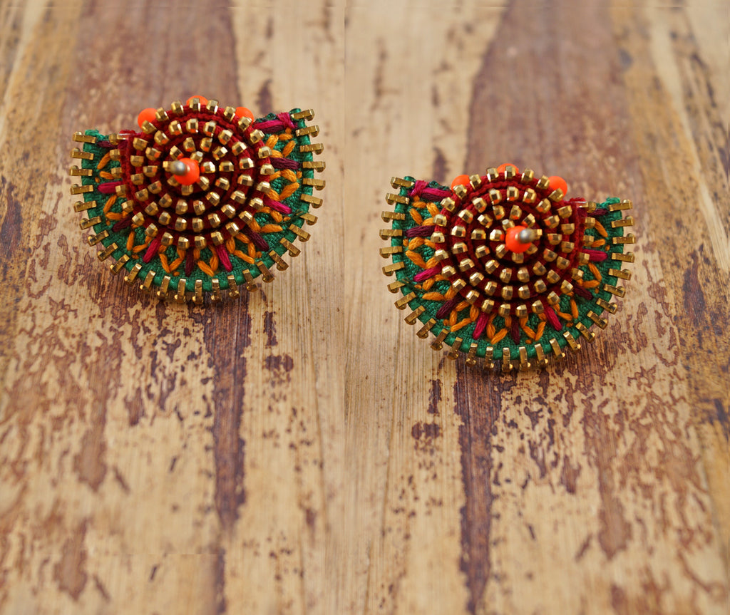 Quirky Green Colour Handmade Stud Earring