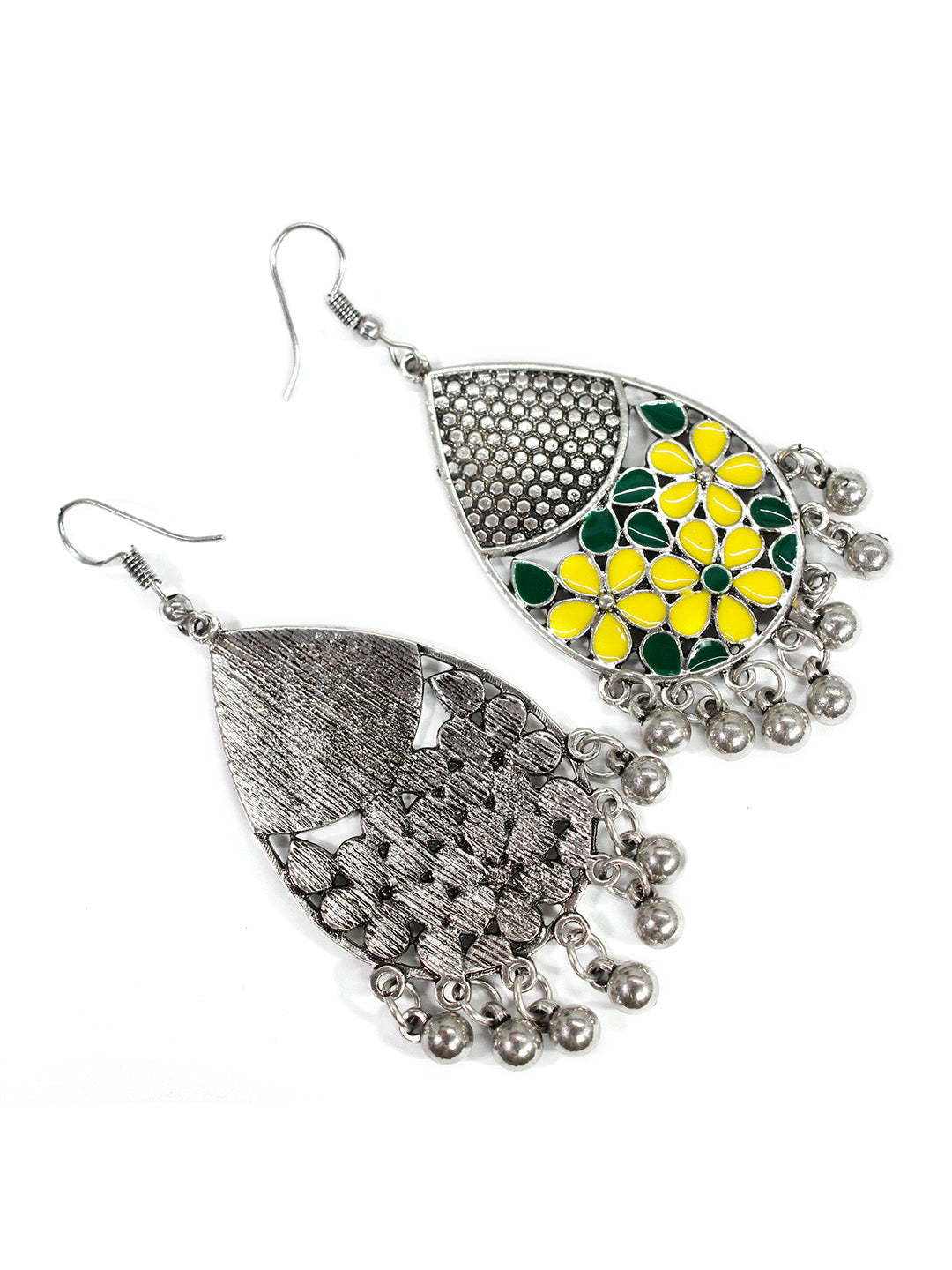 Aana Oxidised Silver Plated Leaf Design Yellow And Green Color Earring
