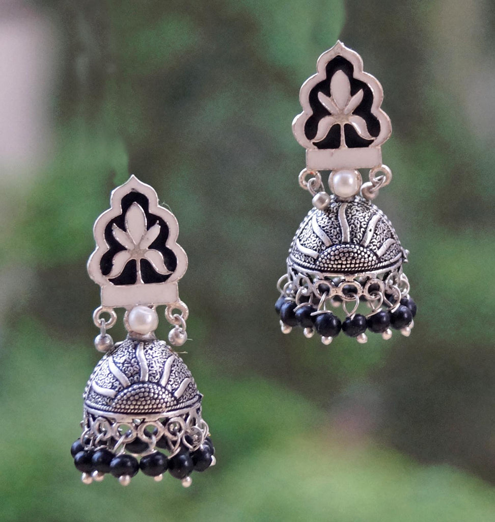 Black Color Floral Design Enamel Paint Jhumka Earring-ANETRA1-Earring