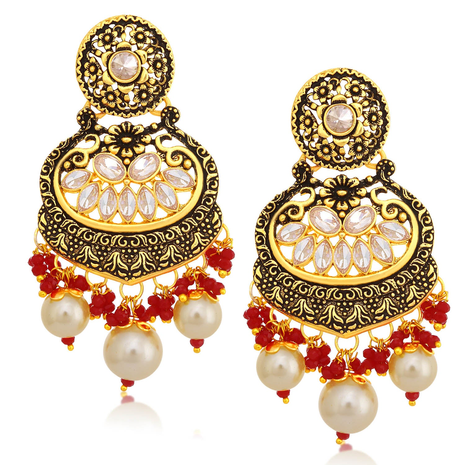 Sukkhi Exclusive LCT Stone Floral Gold Plated Pearl Chandelier Earring For Women-SUKKHI1-Earring
