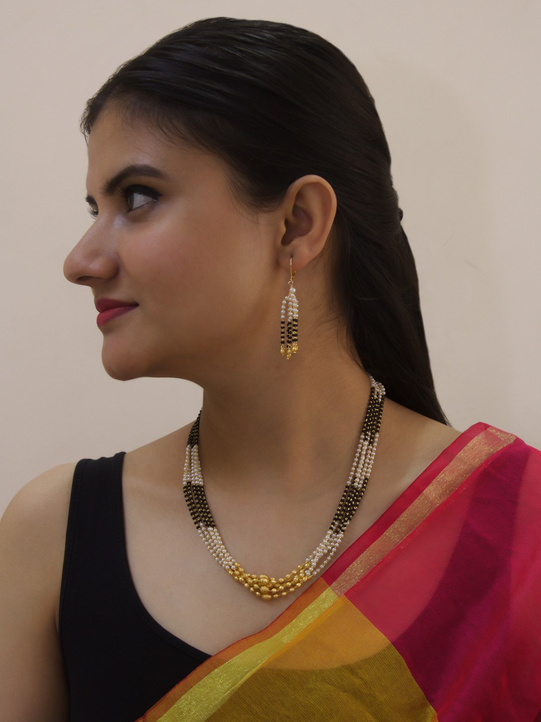 5 Multi Layered Pearls And Mangalsutra Beads Gold Finish Necklace Set