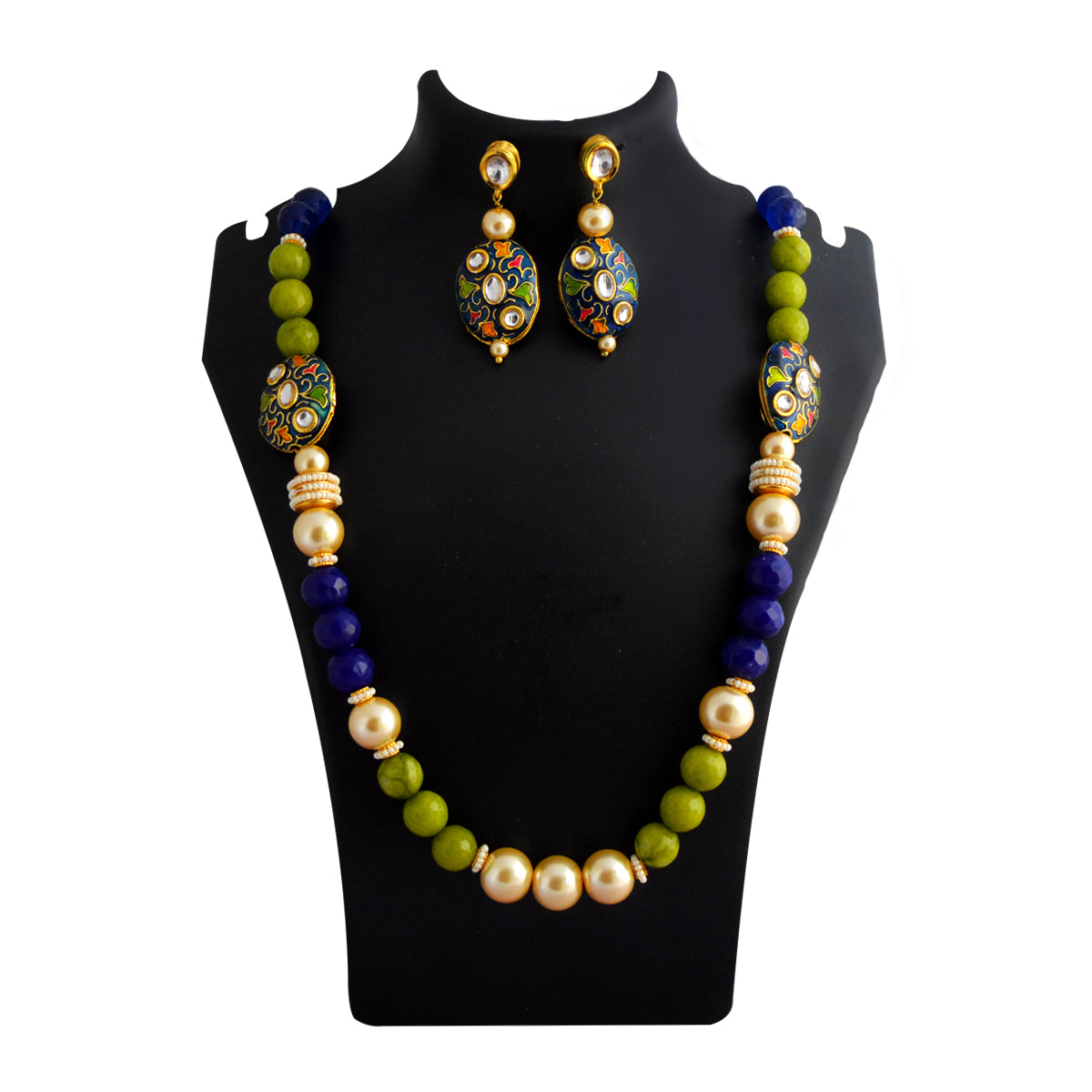 MK Jewellers Peacock And Blues Color Meenakari Painting With Kundan Stone And Pearl Necklace Set-MK Jewellers-Necklace