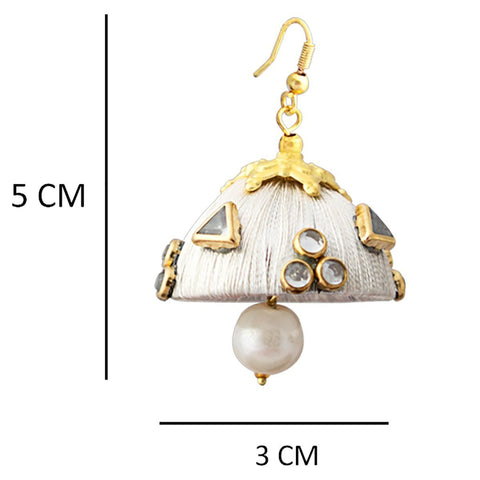 Gorgeous Dangling Drop Beads Silk White Tokri Jhumki Earring