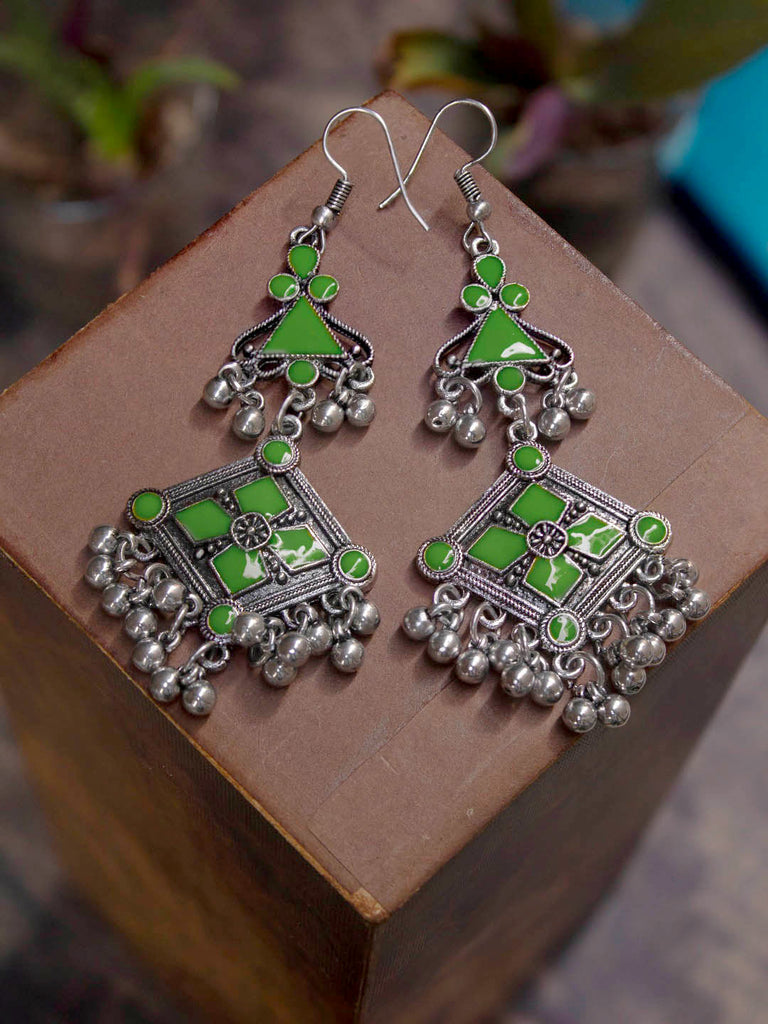 Aana Silver Plated Square Design Green Color Enamel Painted With Hanging Silver Beads Dangler Earring-AANA-Earring