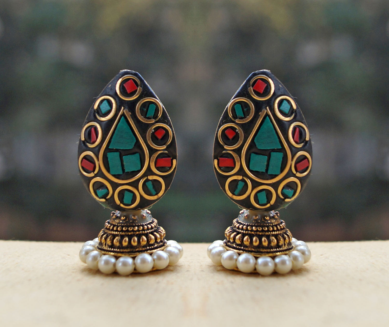 Red And Green Colour Petal Drop Jhumka Earring