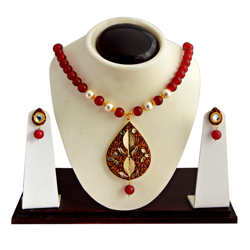 Maroon Colour Beads Leaf Design With Kundan Meenakari Necklace Set