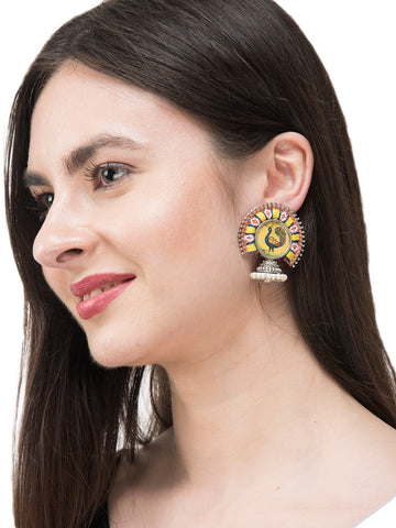 Yellow and Orange Colour Peacock Design Embroidered Jhumka Earring
