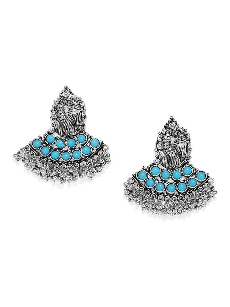 Zaveri Pearls Peacock Inspired Dangle Earring