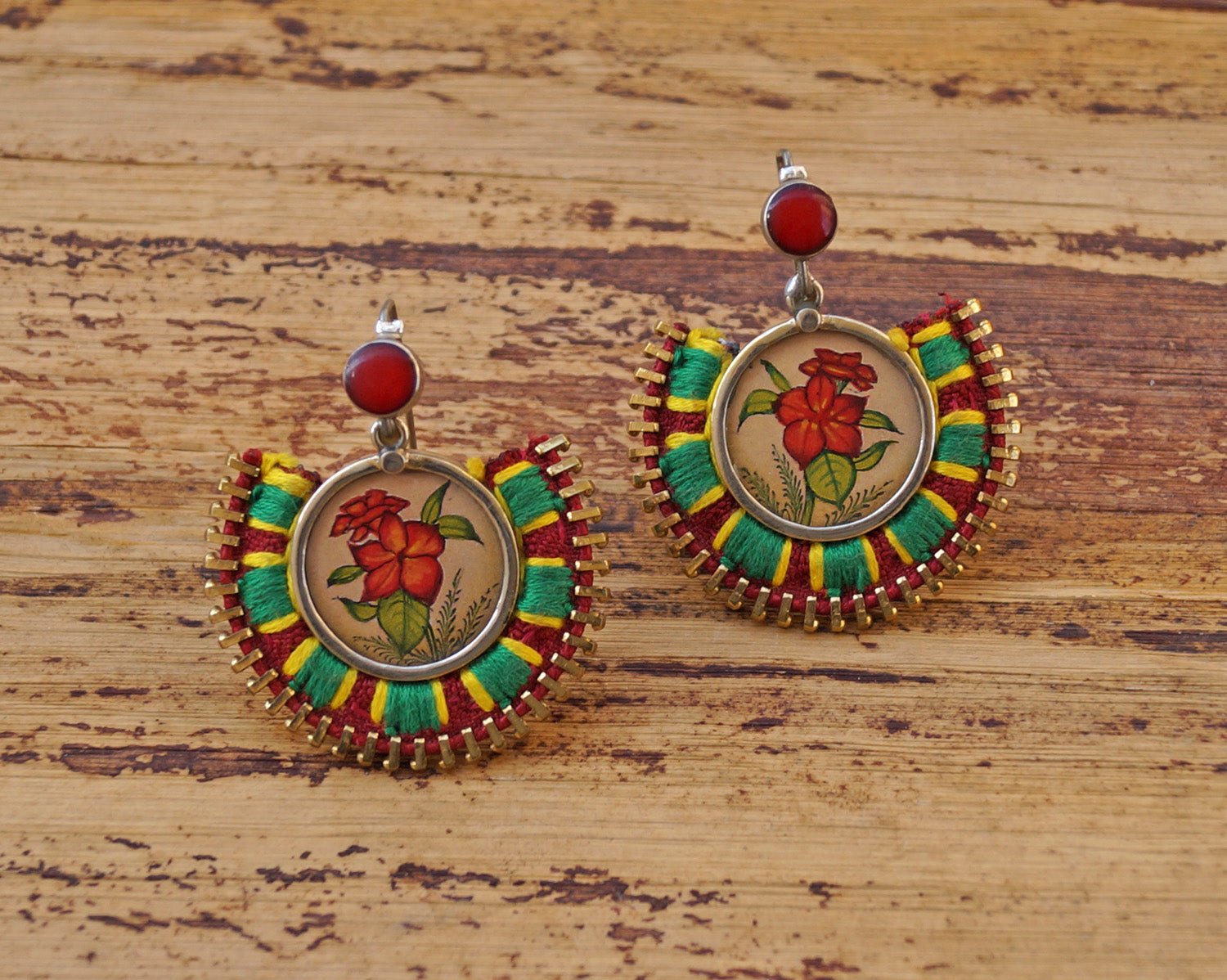 Maroon And Green Colour Floral Design Hand Painted Dangler Earring