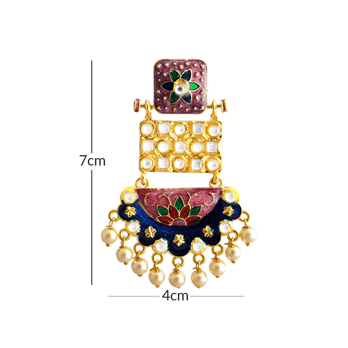 MK Jewellers Vioult Blues Color With Kundan Stone Meenakari Dangler Earring-MK JEWELLERS1-Earring