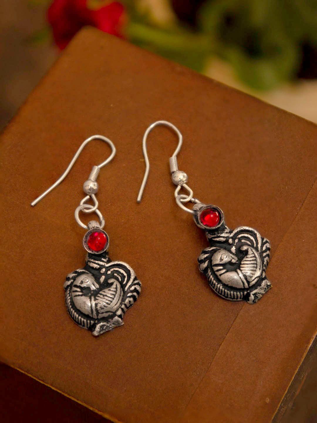 Oxidized Silver Plated Peacock Design Pink Color Artificial Stone Dangler Earring-OXIDIZED-Earring