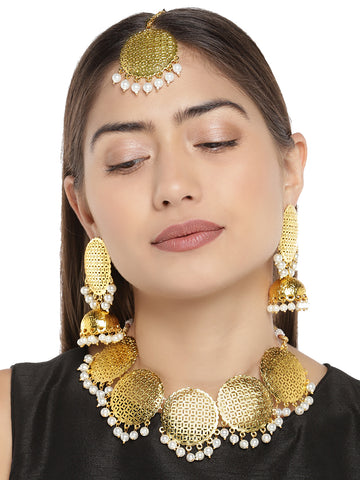 Zaveri Pearls Antique Gold Tone Choker Necklace Set