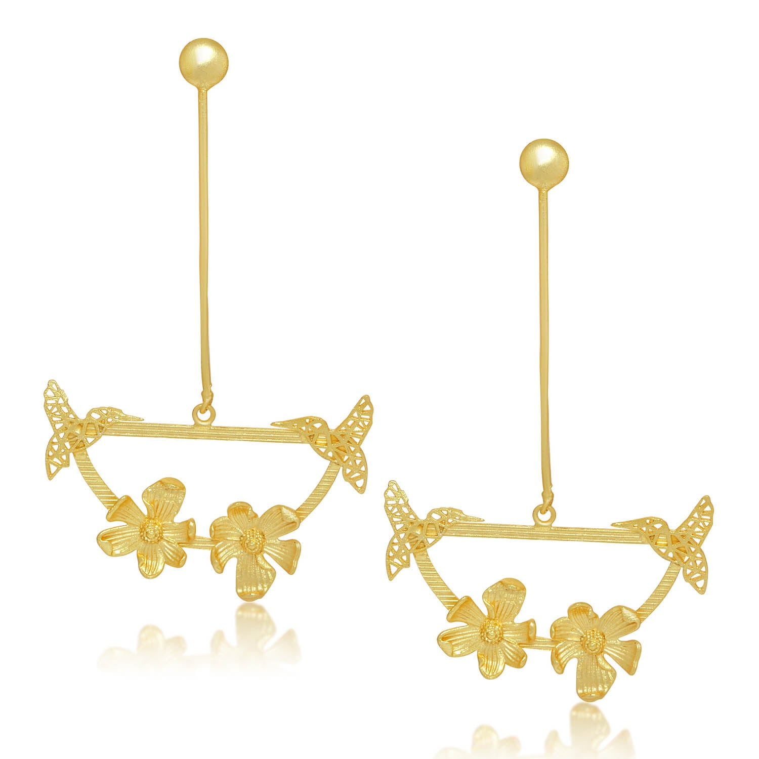 Sukkhi Classy Gold Plated Bird and Floral Chandelier Earring For Women-SUKKHI1-Earring