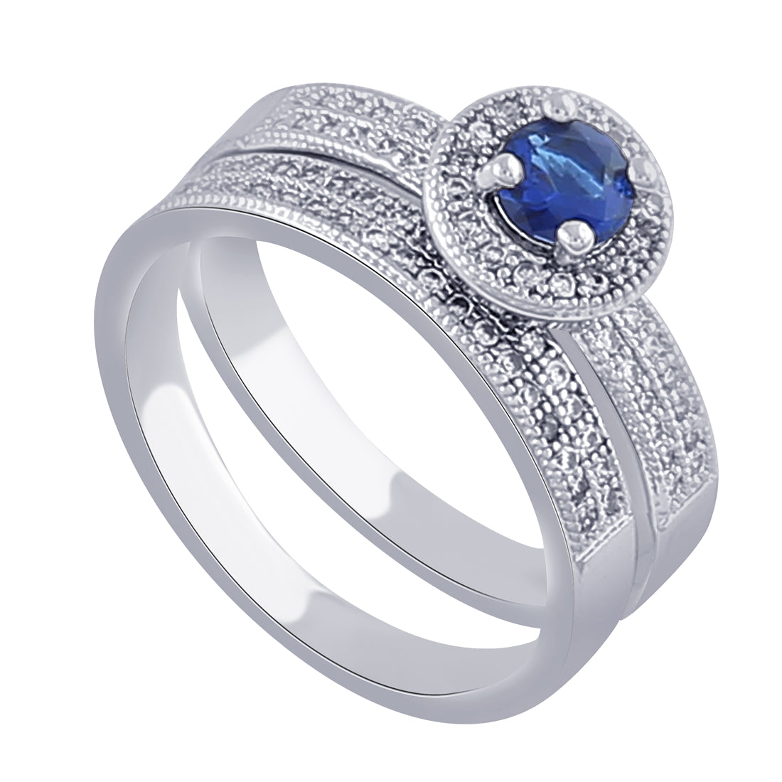 Blue Crystal Ceremonial Ring-THE BLING STORES1-Finger Ring