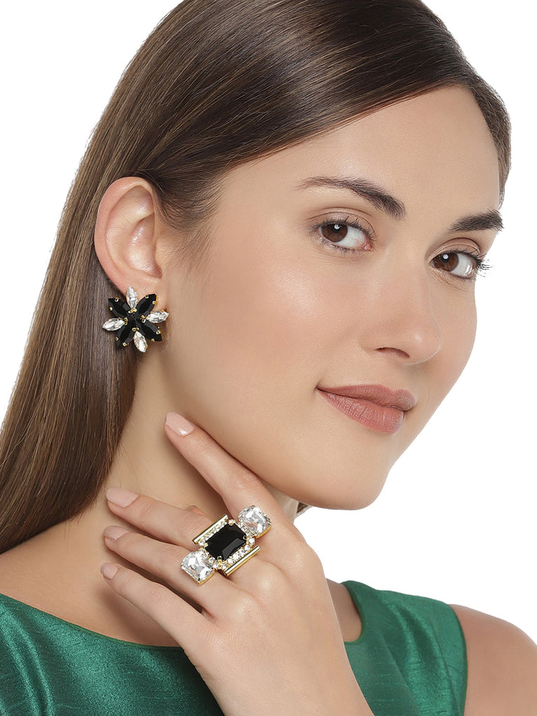 Zaveri Pearls Gold Tone Crystal Shine Contemporary Earring And Finger Ring Set