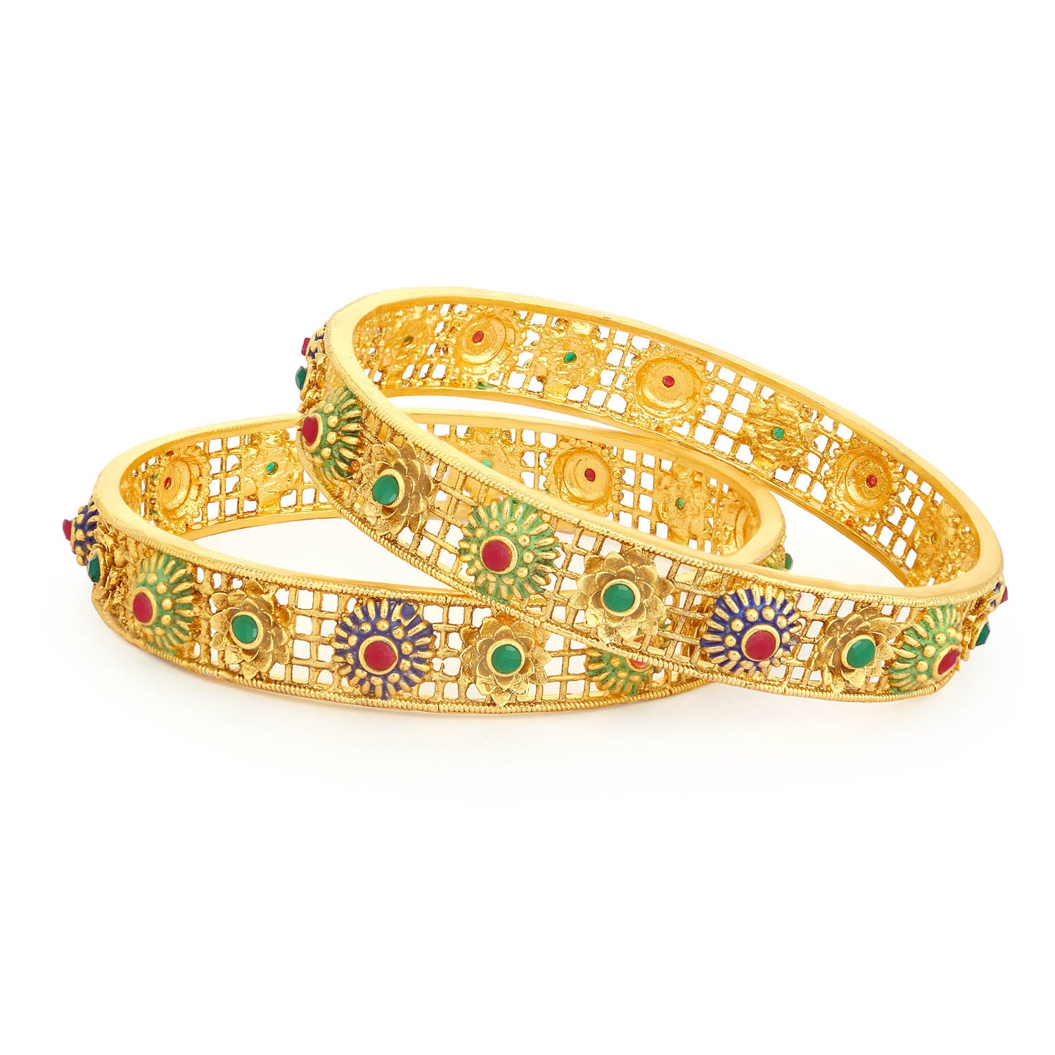 Sukkhi Spectacular Gold Plated Floral Meenakari Bangle Set For Women-SUKKHI1-Bangle