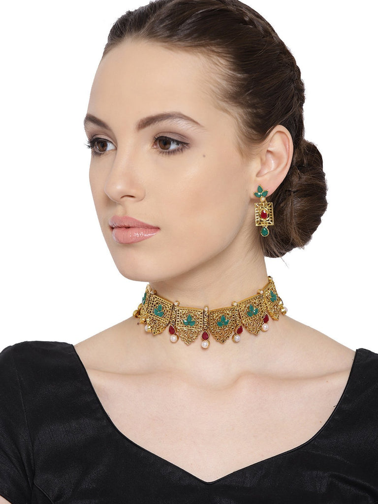 Zaveri Pearls Finely Designed Gold Tone Choker Necklace Set