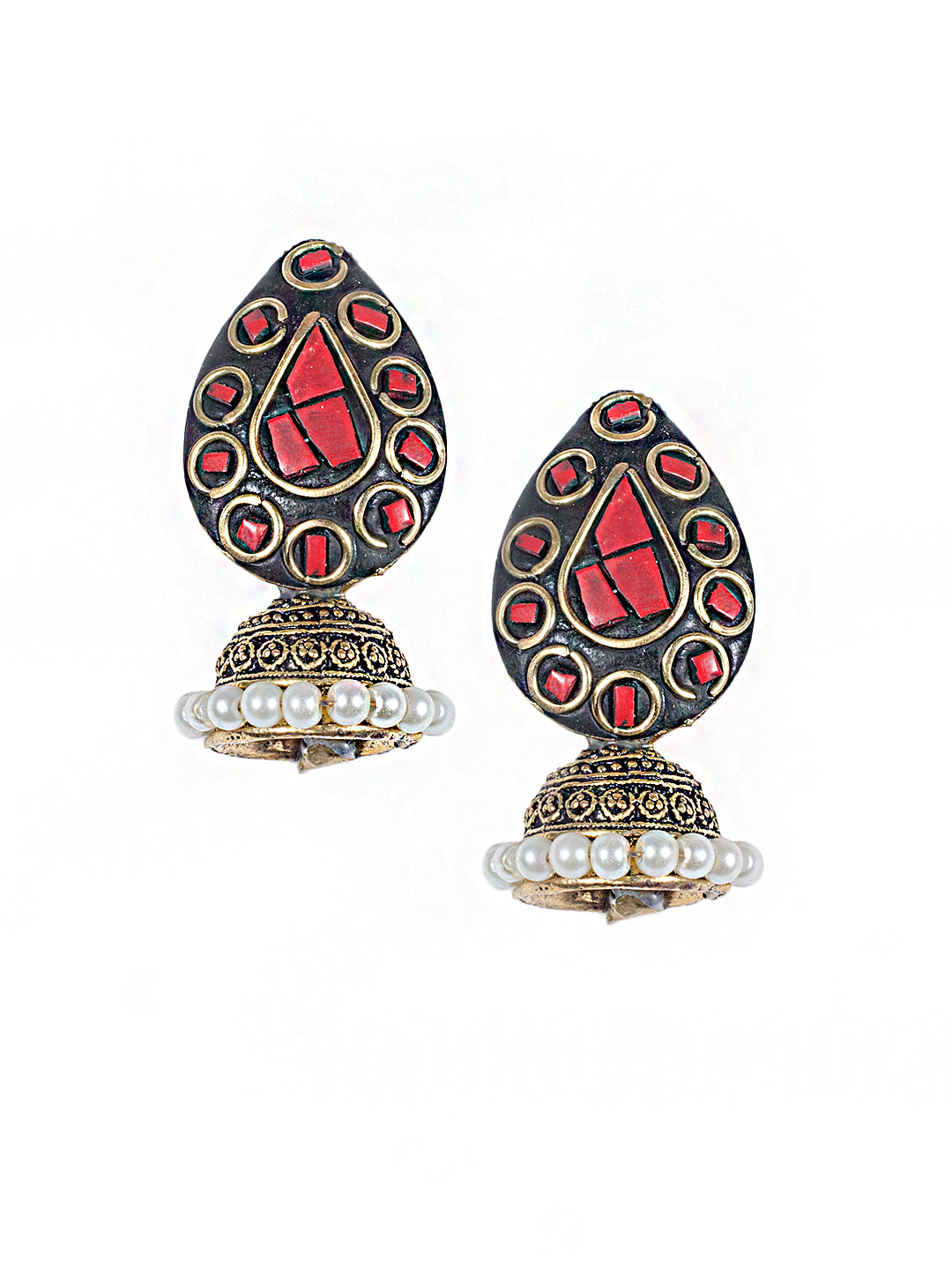Red Colour Petal Drop Jhumka Earring