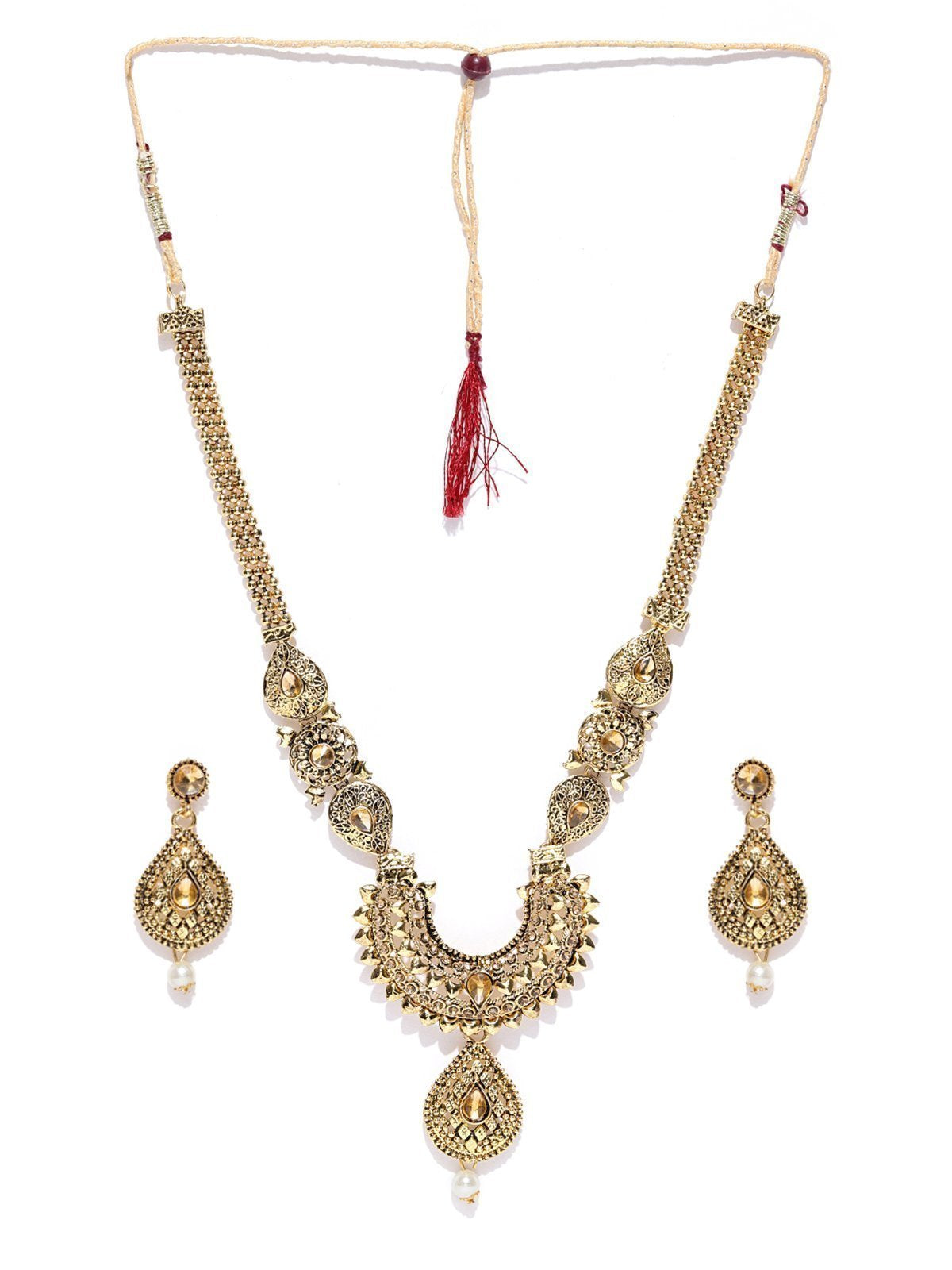 Zaveri Pearls Royal Look Gold Tone Ethnic Necklace Set