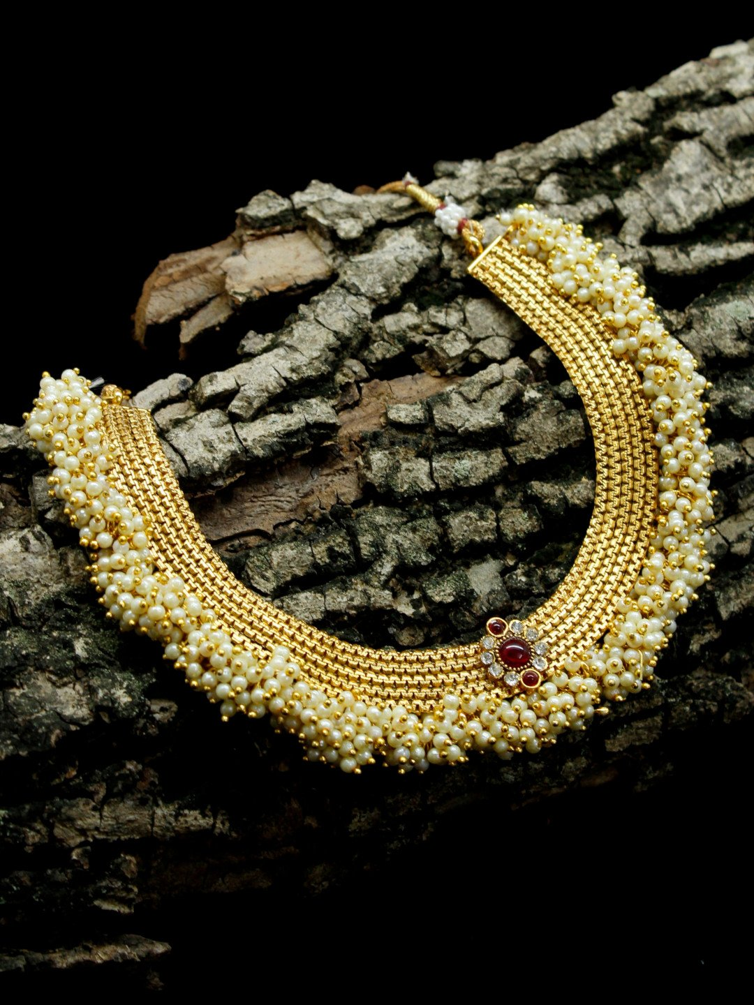 Gold Plated Guttapusalu Pearl Cluster Floral Stones Choker Necklace Traditional Jewelry-AVISMAYA1-Necklace