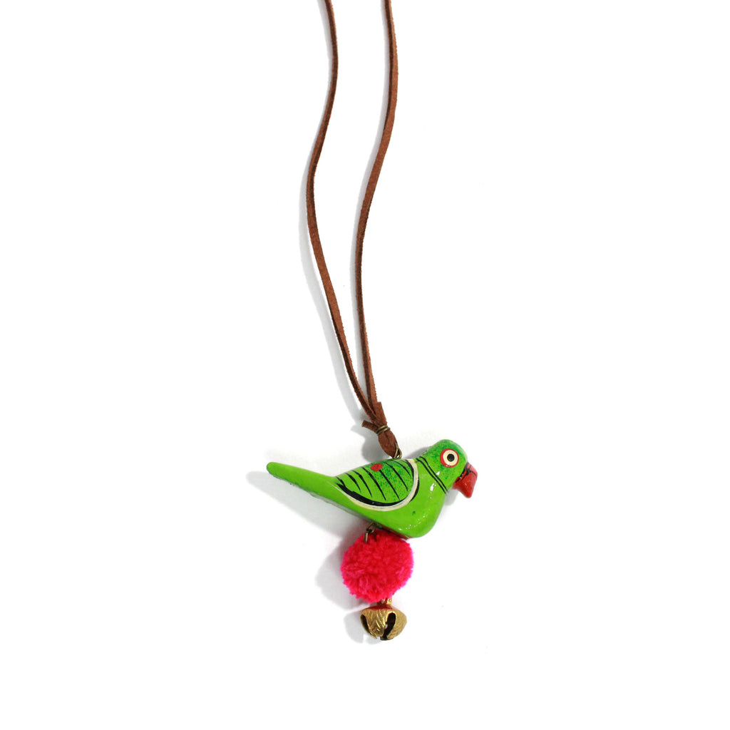 Hand Crafted Wooden Parrot Design Pendant Necklace