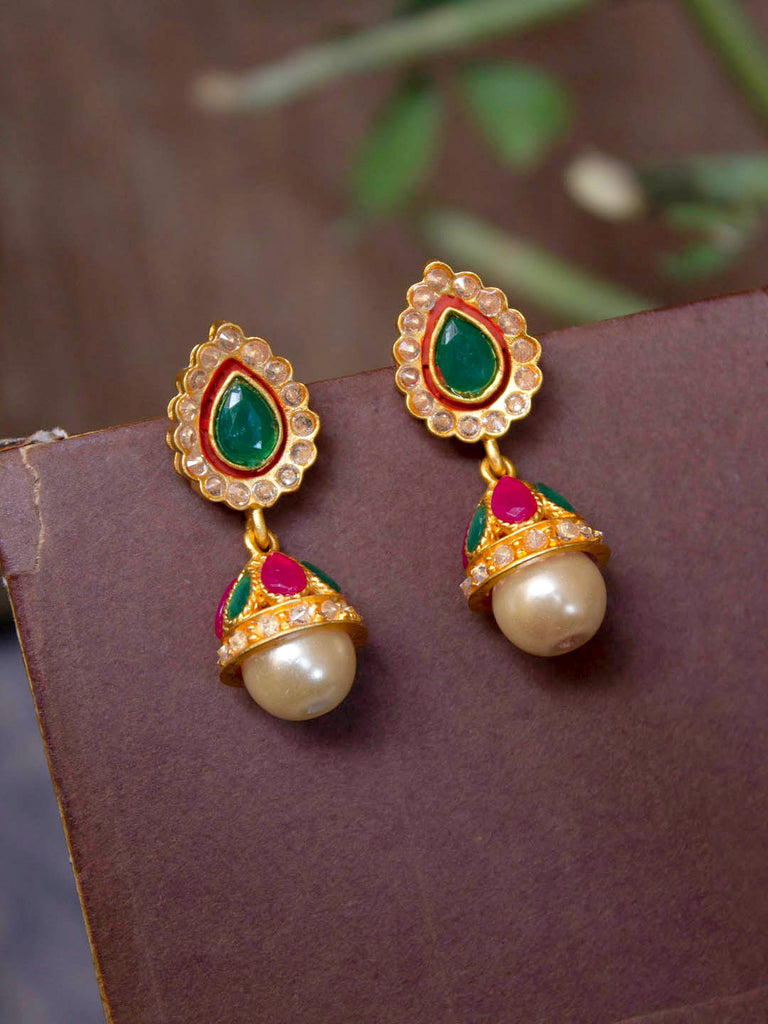 Avismaya Gold Plated Flower Petal Shape Red And Green Color Stone With Hanging Pearl Jhumka Earring-AVISMAYA-Earring