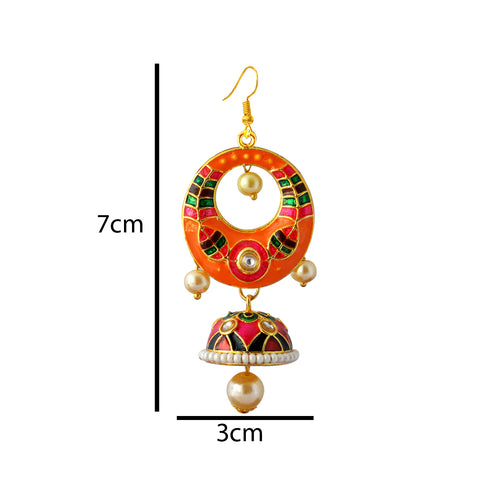 Orange And Green Meenakari Tribal Dual Half Moon Design With Kundan Earring