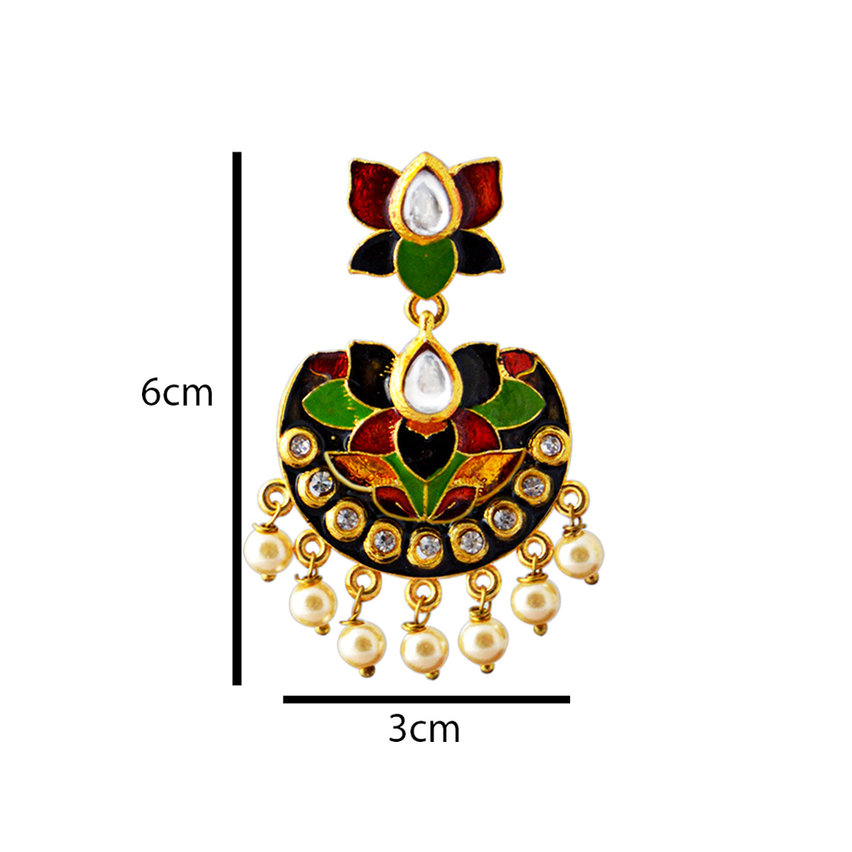 Red And Black Color Double Layer With Kundan Stone Meenakari Dangler Earrings-MK JEWELLERS1-Earring
