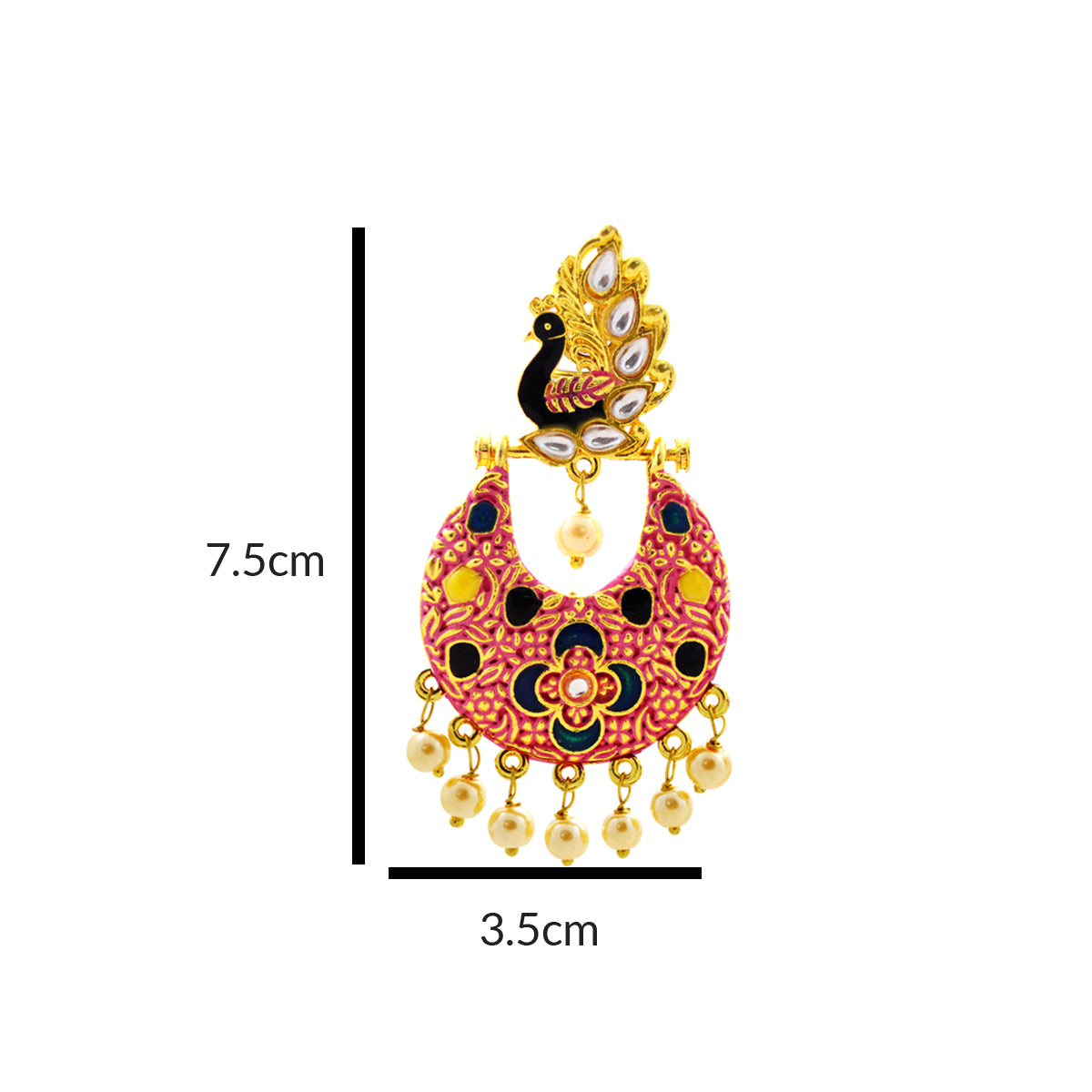 MK Jewellers Flashy Pink Peacock Design Hanging Dangler Earring-MK JEWELLERS1-Earring