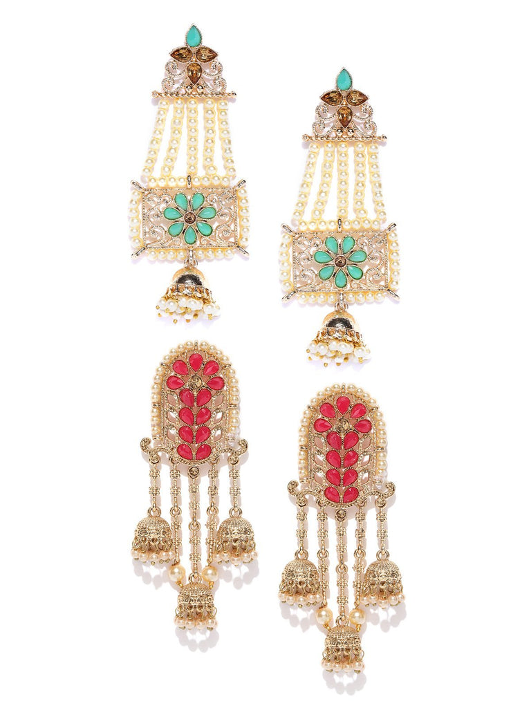Combo Of 2 Gold Tone Kundan And Pearls Dangler Earrings