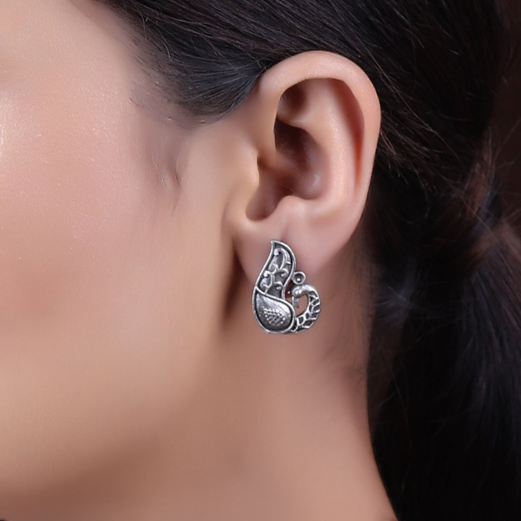 Antique Silver Plating Dancing Peacock Design Stud Earring By Cippele-Cippele-Earring
