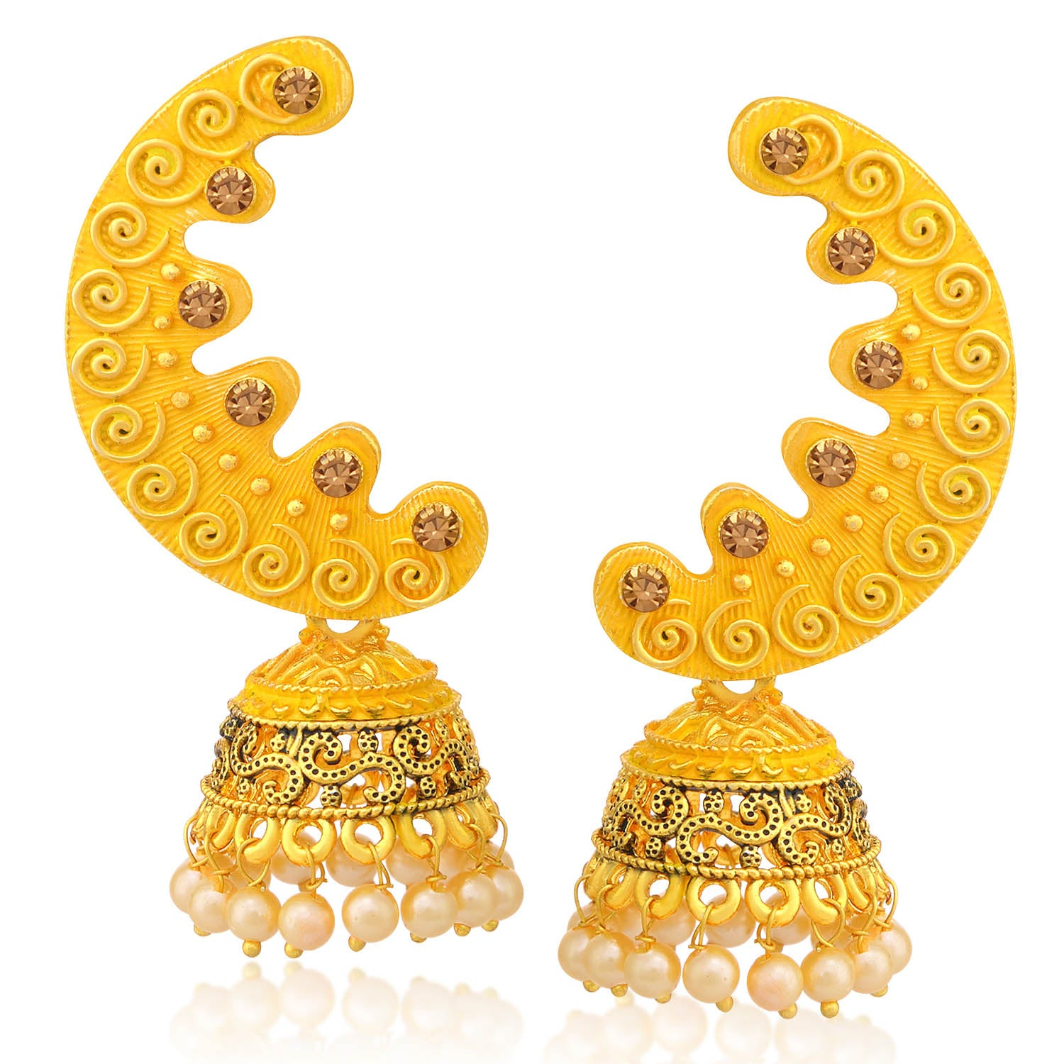 Sukkhi Blossomy LCT Stone Gold Plated Pearl Yellow Mint Meena Collection Chandbali Jhumki Earring For Women-SUKKHI1-Earring