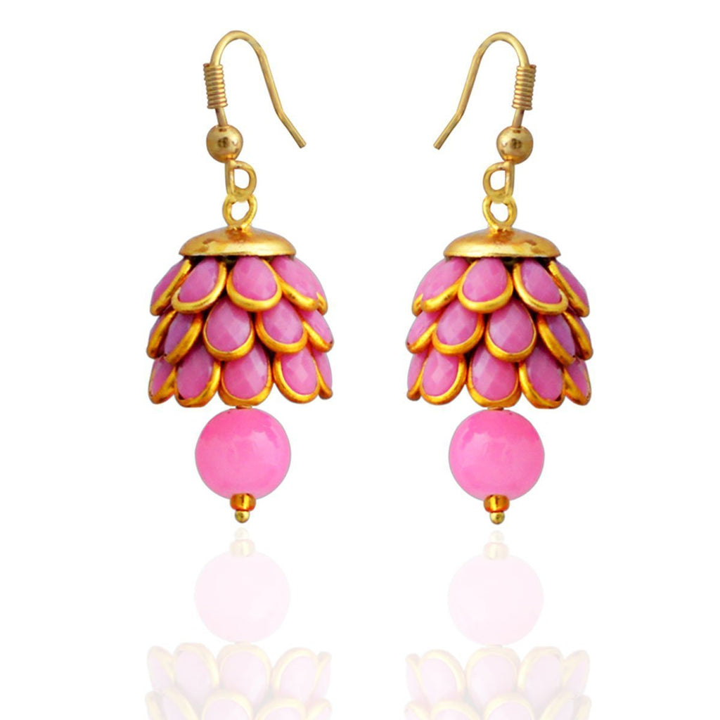 Designer Pacchi Pearl Stone Pink Gold Plated Jhumki Earring